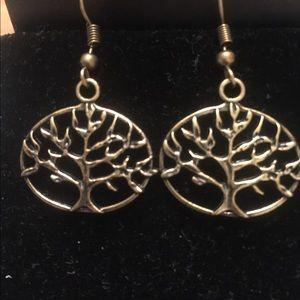 Copper Tree Of Life Earrings On A Fish Back Hook